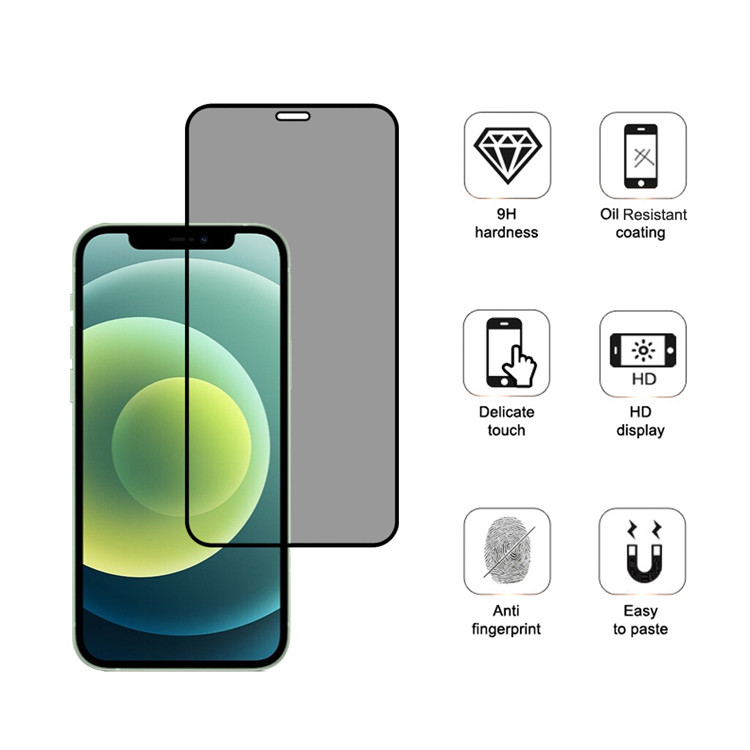 Dlix privacy full cover tempered glass screen protector for Apple iPhone 12