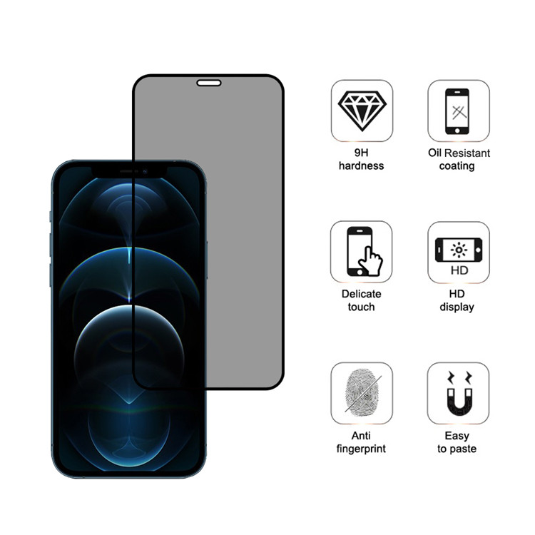 Dlix privacy full cover tempered glass screen protector for Apple iPhone 12 Pro
