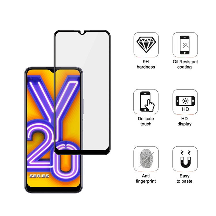 Dlix 2.5D silk print full glue tempered glass screen protector for Vivo Y20i